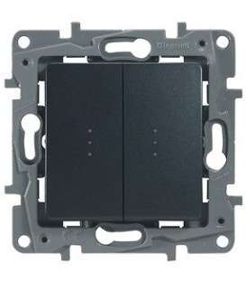 Выключатель-переключатель двухклавишный с подсветкой Etika Plus (антрацит)