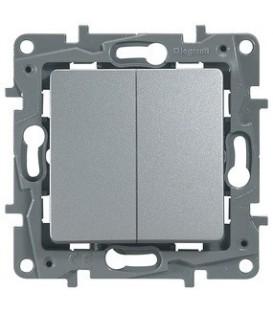 Выключатель-переключатель двухклавишный Etika Plus (алюминий)