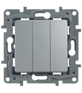 Выключатель трехклавишный Etika Plus (алюминий)