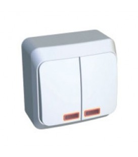 ЭТЮД Выключатель 2кл наружный с индикацией белый