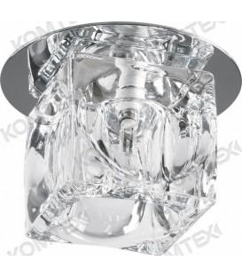 Comtech Cryst Светильник галогеновый встраиваемый HR51 1x20W G4 HS куб граненый, хром