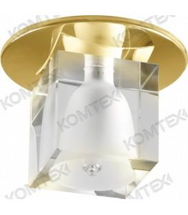 Comtech Cryst Светильник галогеновый встраиваемый HR51 1x20W G4 HS куб, золото