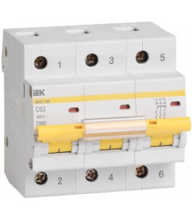 IEK Автоматический выключатель ВА 47-100 3Р 63А 10 кА х-ка С