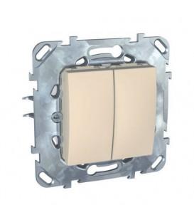 Выключатель двухклавишный, 10 А / 250 В~, пластик - пластик бежевый