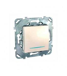 Выключатель одноклавишный с подсветкой, 10 А / 250 В~ кремовый глянцевый