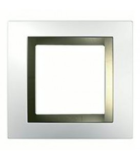 Рамка 1-я Unica Белый/Бронза