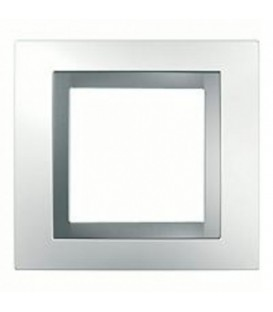 Рамка 1-я Unica Белый/Серебро