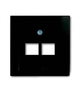 Розетка телефонная (RJ-11/12) 2 разъема ABB Basic 55, шато-черный