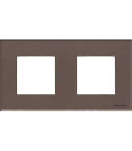 Рамка 2 поста по 2 модуля ABB Zenit, немецкий стандарт (кофейное стекло)