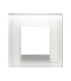 Рамка 1 пост по 2 модуля ABB Zenit, немецкий стандарт (белое стекло)