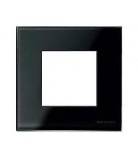 Рамка 1 пост по 2 модуля ABB Zenit, немецкий стандарт (черное стекло)
