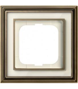 Рамка ABB Dynasty одноместная (латунь античная, белое стекло)