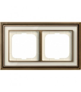 Рамка ABB Dynasty двухместная (латунь античная, белое стекло)