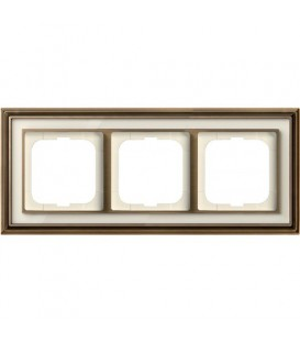 Рамка ABB Dynasty трехместная (латунь античная, белое стекло)