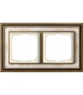 Рамка ABB Dynasty двухместная (латунь античная, белая роспись)