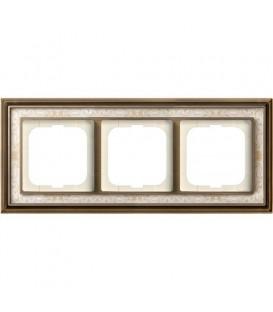 Рамка ABB Dynasty трехместная (латунь античная, белая роспись)