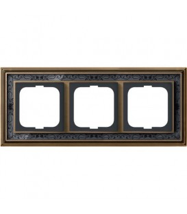 Рамка ABB Dynasty трехместная (латунь античная, черная роспись)