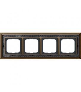 Рамка ABB Dynasty четырехместная (латунь античная, черная роспись)
