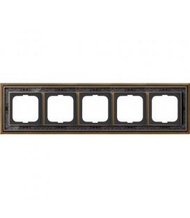 Рамка ABB Dynasty пятиместная (латунь античная, черная роспись)