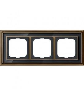 Рамка ABB Dynasty трехместная (латунь античная, черное стекло)