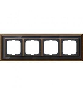 Рамка ABB Dynasty четырехместная (латунь античная, черное стекло)