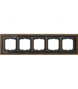 Рамка ABB Dynasty пятиместная (латунь античная, черное стекло)