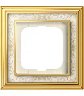 Рамка ABB Dynasty одноместная (латунь полированная, белая роспись)