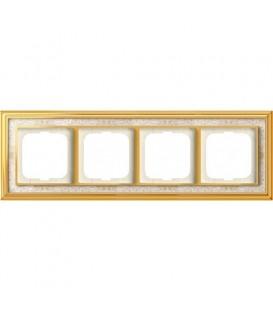 Рамка ABB Dynasty четырехместная (латунь полированная, белая роспись)
