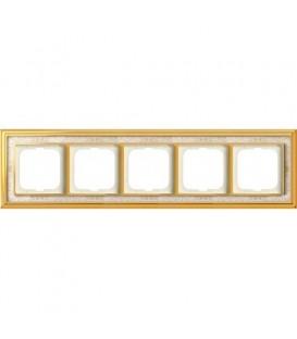 Рамка ABB Dynasty пятиместная (латунь полированная, белая роспись)