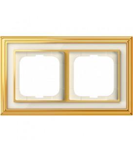 Рамка ABB Dynasty двухместная (латунь полированная, белое стекло)
