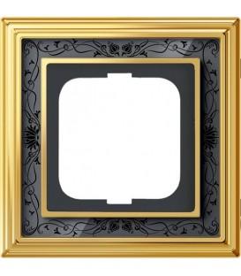 Рамка ABB Dynasty одноместная (латунь полированная, черная роспись)