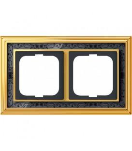 Рамка ABB Dynasty двухместная (латунь полированная, черная роспись)