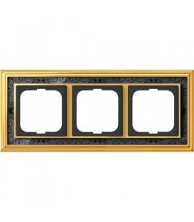 Рамка ABB Dynasty трехместная (латунь полированная, черная роспись)