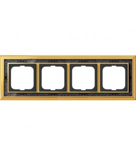 Рамка ABB Dynasty четырехместная (латунь полированная, черная роспись)
