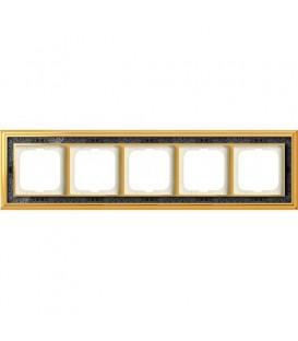 Рамка ABB Dynasty пятиместная (латунь полированная, черная роспись)