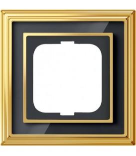 Рамка ABB Dynasty одноместная (латунь полированная, черное стекло)