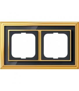 Рамка ABB Dynasty двухместная (латунь полированная, черное стекло)