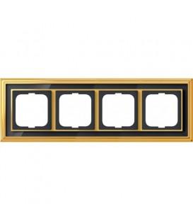 Рамка ABB Dynasty четырехместная (латунь полированная, черное стекло)