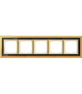 Рамка ABB Dynasty пятиместная (латунь полированная, черное стекло)